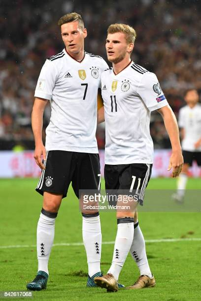Timo Werner of Germany is celebrated by Julian Draxler of Germany after he scored to make it 40 for Germany during the FIFA 2018 World Cup Qualifier...