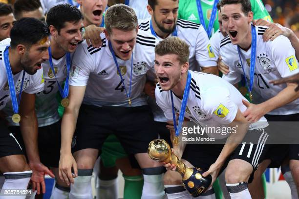 Timo Werner of Germany lifts the FIFA Confederations Cup trophy after the FIFA Confederations Cup Russia 2017 Final between Chile and Germany at...