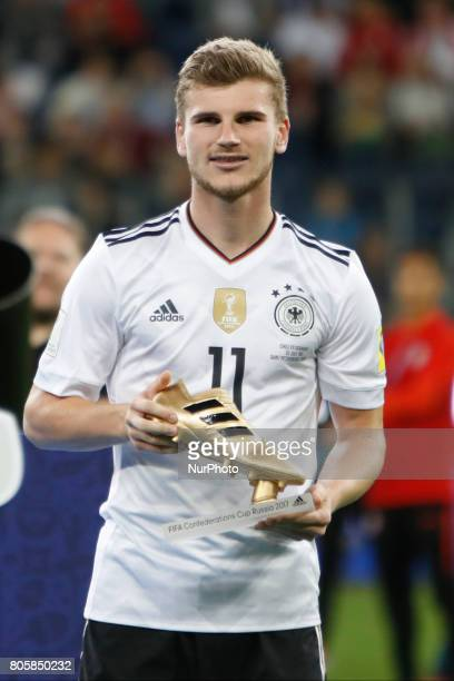 Timo Werner of Germany national team with Golden Boot trophy during award ceremony after FIFA Confederations Cup Russia 2017 final match between...