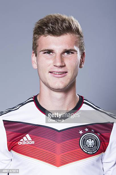 Timo Werner of Germany poses during the team presentation of Germany U21on August 31 2015 in Hamburg Germany