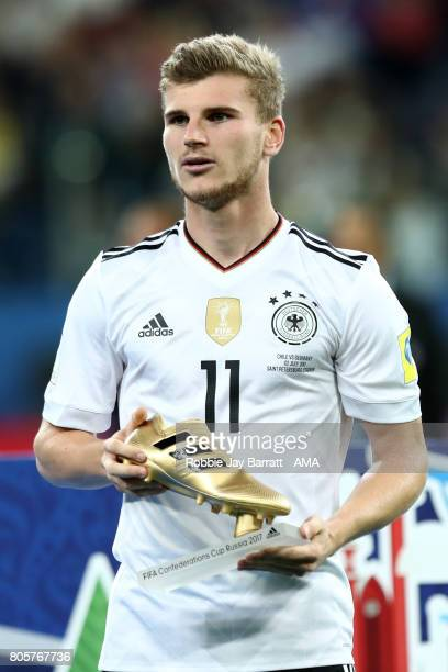 Timo Werner of Germany poses with the golden boot at the end of the FIFA Confederations Cup Russia 2017 Final match between Chile and Germany at...