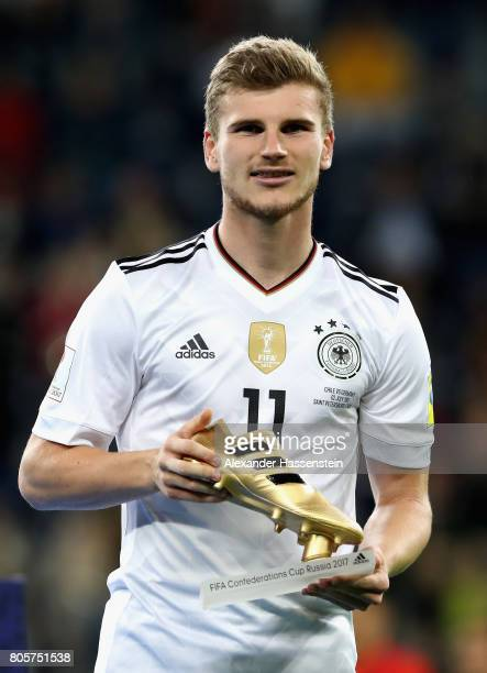Timo Werner of Germany poses with the golden boot award after the FIFA Confederations Cup Russia 2017 Final between Chile and Germany at Saint...