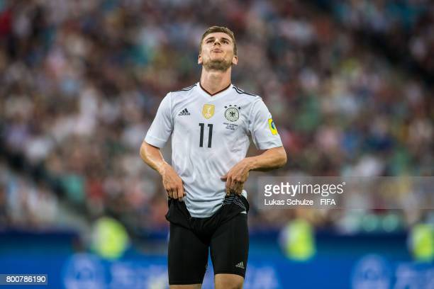 Timo Werner of Germany reacts after a chance during the FIFA Confederations Cup Group B match between Germany and Cameroon at Fisht Olympic Stadium...
