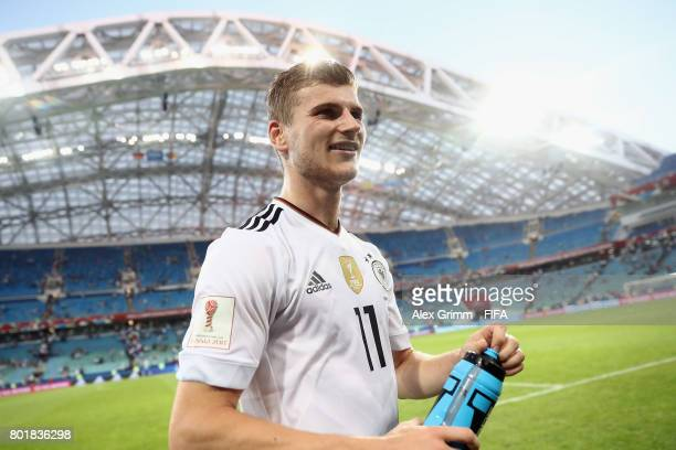 Timo Werner of Germany reacts after the FIFA Confederations Cup Russia 2017 Group B match between Germany and Cameroon at Fisht Olympic Stadium on...