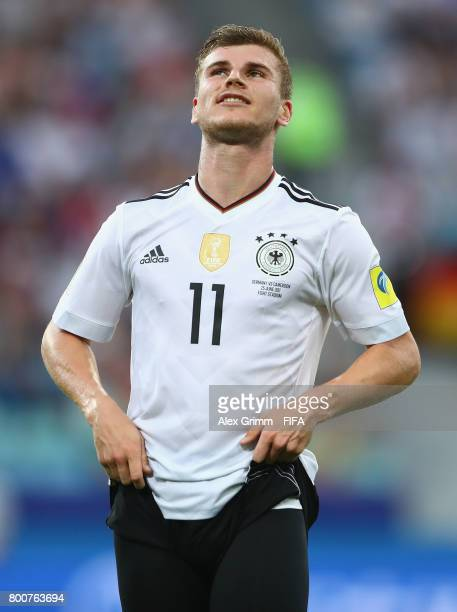 Timo Werner of Germany reacts during the FIFA Confederations Cup Russia 2017 Group B match between Germany and Cameroon at Fisht Olympic Stadium on...