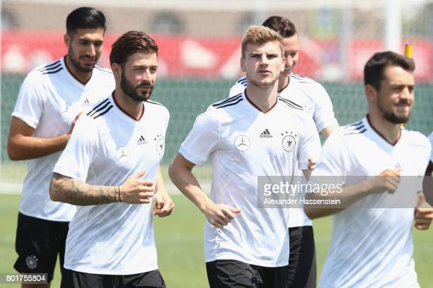 Timo Werner of Germany runs during a team Germany training session at Park Arena training ground on June 27 2017 in Sochi Russia