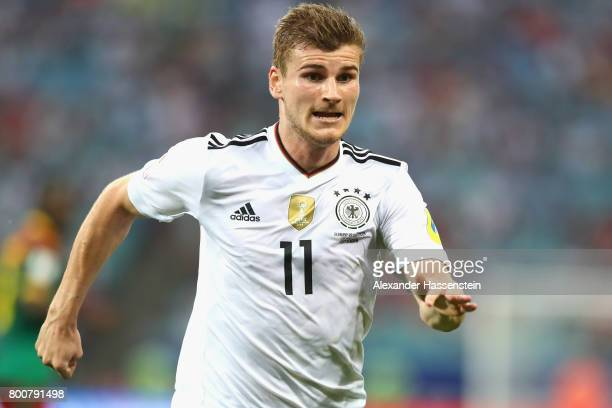 Timo Werner of Germany runs during the FIFA Confederations Cup Russia 2017 Group B match between Germany and Cameroon at Fisht Olympic Stadium on...