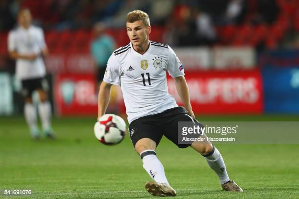 Timo Werner of Germany runs with the ball during the FIFA World Cup Russia 2018 Group C Qualifier between Czech Republic and Germany at Eden Arena on...