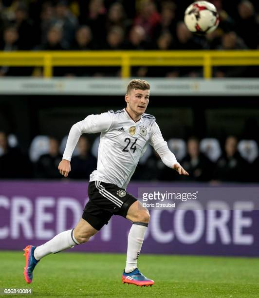 Timo Werner of Germany runs with the ball during the international friendly match between Germany and England at Signal Iduna Park on March 22 2017...