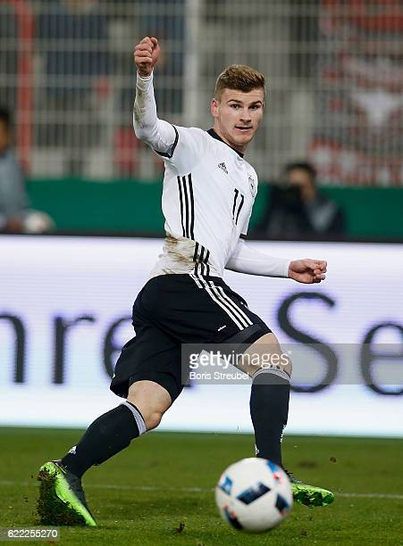 Timo Werner of Germany runs with the ball during the U21 International Friendly match between U21 Germany and U21 Turkey at Stadion An der Alten...