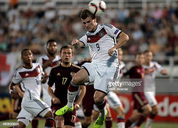 Timo Werner of Germany scores a goal during the UEFA European Under19 Championship group stage match between U19 Russia and U19 Germany at Municipal...