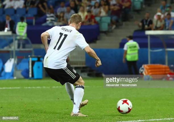 Timo Werner of Germany scores his side's third goal during the FIFA Confederations Cup Russia 2017 SemiFinal between Germany and Mexico at Fisht...
