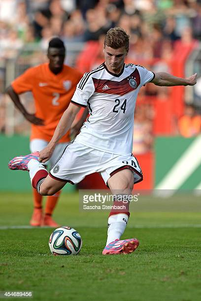 Timo Werner of Germany scores his team's second goal by a penalty during the international friendly match between U19 Germany and U19 Netherlands at...
