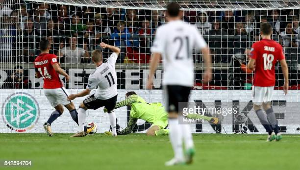 Timo Werner of Germany scores his teams thrid goal during the FIFA 2018 World Cup Qualifier between Germany and Norway at MercedesBenz Arena on...