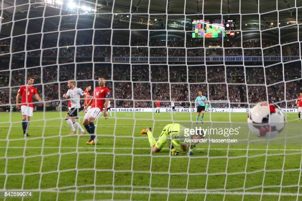 Timo Werner of Germany scores to make it 30 for Germany while goalkeeper Omar Elabdellaoui of Norway looks on during the FIFA 2018 World Cup...