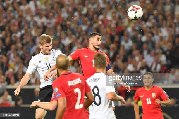 Timo Werner of Germany scores to make it 40 for Germany during the FIFA 2018 World Cup Qualifier between Germany and Norway at MercedesBenz Arena on...