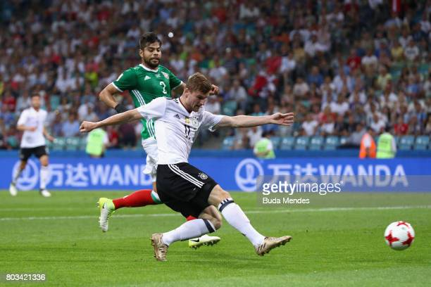 Timo Werner of Germany shoots at goal during the FIFA Confederations Cup Russia 2017 SemiFinal between Germany and Mexico at Fisht Olympic Stadium on...