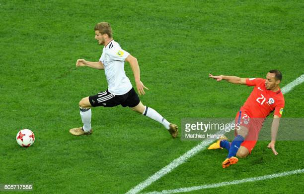 Timo Werner of Germany steals the ball off Marcelo Diaz of Chile which leads to Lars Stindl of Germany scoring his sides first goal during the FIFA...