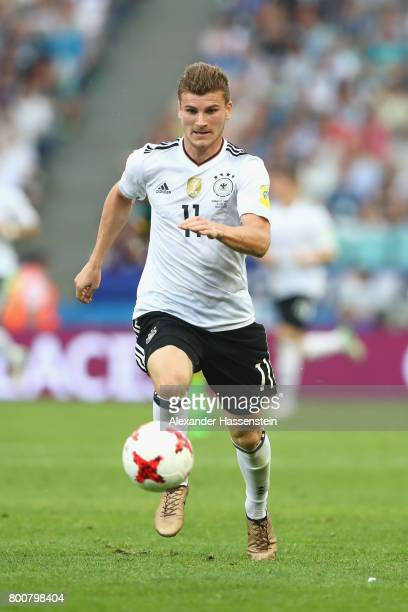 Timo Werner of Germyn runs with the ball during the FIFA Confederations Cup Russia 2017 Group B match between Germany and Cameroon at Fisht Olympic...