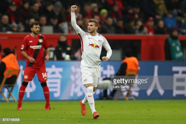 Timo Werner of Leipzig celebrates after he scored a goal from the penalty spot during the Bundesliga match between Bayer 04 Leverkusen and RB Leipzig...