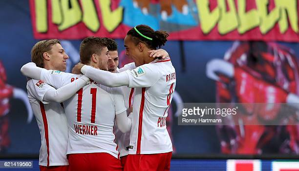 Timo Werner of Leipzig celebrates after scoring his team's opening goal with team mates during the Bundesliga match between RB Leipzig and 1 FSV...