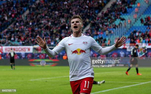 Timo Werner of Leipzig celebrates after scoring his team's third goal with team mates during the Bundesliga match between RB Leipzig and 1 FC Koeln...