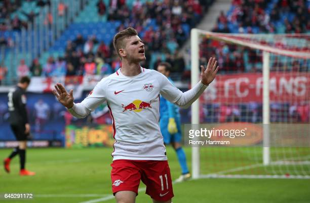 Timo Werner of Leipzig celebrates after scoring his team's third goal during the Bundesliga match between RB Leipzig and 1 FC Koeln at Red Bull Arena...