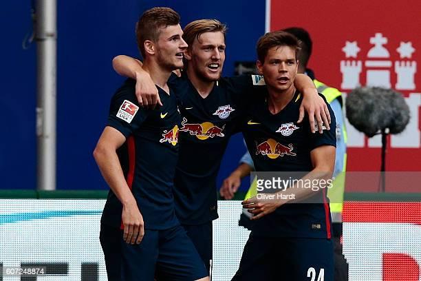 Timo Werner of Leipzig celebrates after scoring their second goal during the Bundesliga match between Hamburger SV and RB Leipzig at Volksparkstadion...