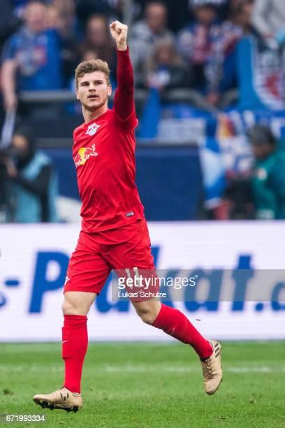 Timo Werner of Leipzig celebrates his teams first goal during the Bundesliga match between FC Schalke 04 and RB Leipzig at VeltinsArena on April 23...