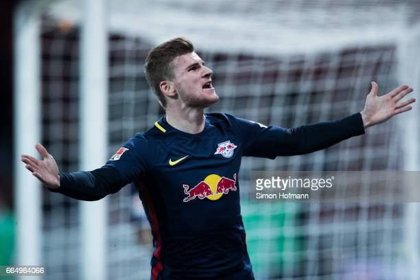 Timo Werner of Leipzig celebrates his team's second goal during the Bundesliga match between 1 FSV Mainz 05 and RB Leipzig at Opel Arena on April 5...