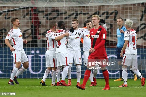 Timo Werner of Leipzig celebrates with his team after he scored a goal from the penalty spot during the Bundesliga match between Bayer 04 Leverkusen...