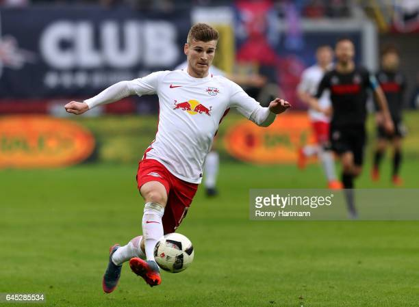 Timo Werner of Leipzig controls the ball during the Bundesliga match between RB Leipzig and 1 FC Koeln at Red Bull Arena on February 25 2017 in...