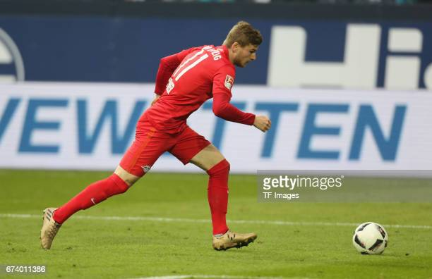 Timo Werner of Leipzig controls the ball during the Bundesliga match between FC Schalke 04 and RB Leipzig at VeltinsArena on April 23 2017 in...