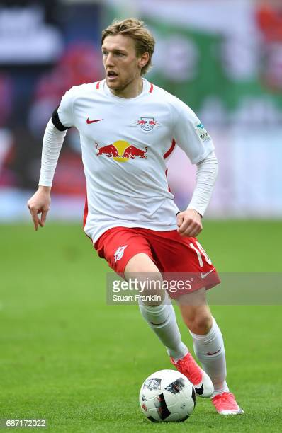 Timo Werner of Leipzig in action during the Bundesliga match between RB Leipzig and Bayer 04 Leverkusen at Red Bull Arena on April 8 2017 in Leipzig...