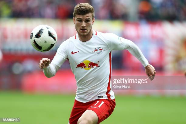 Timo Werner of Leipzig in action during the Bundesliga match between RB Leipzig and SC Freiburg at Red Bull Arena on April 15 2017 in Leipzig Germany