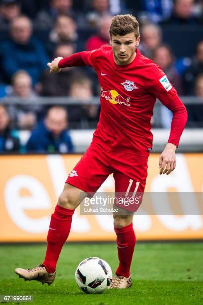 Timo Werner of Leipzig in action during the Bundesliga match between FC Schalke 04 and RB Leipzig at VeltinsArena on April 23 2017 in Gelsenkirchen...