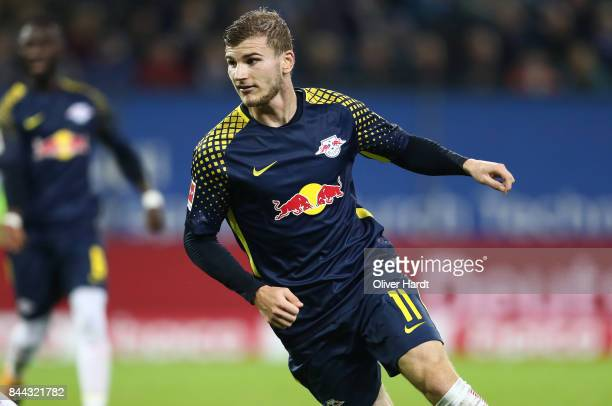 Timo Werner of Leipzig in action during the Bundesliga match between Hamburger SV and RB Leipzig at Volksparkstadion on September 8 2017 in Hamburg...
