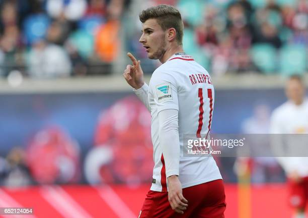 Timo Werner of Leipzig looks on during the Bundesliga match between RB Leipzig and VfL Wolfsburg at Red Bull Arena on March 11 2017 in Leipzig Germany