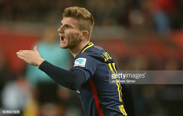 Timo Werner of Leipzig reacts during the Bundesliga match between FC Ingolstadt 04 and RB Leipzig at Audi Sportpark on December 10 2016 in Ingolstadt...