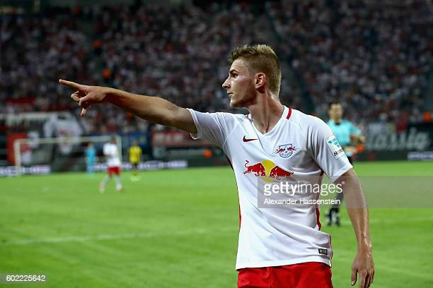 Timo Werner of Leipzig reacts during the Bundesliga match between RB Leipzig and Borussia Dortmund at Red Bull Arena on September 10 2016 in Leipzig...