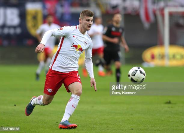 Timo Werner of Leipzig runs with the ball during the Bundesliga match between RB Leipzig and 1 FC Koeln at Red Bull Arena on February 25 2017 in...