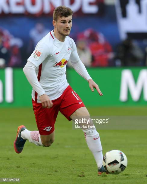 Timo Werner of Leipzig runs with the ball during the Bundesliga match between RB Leipzig and VfL Wolfsburg at Red Bull Arena on March 11 2017 in...