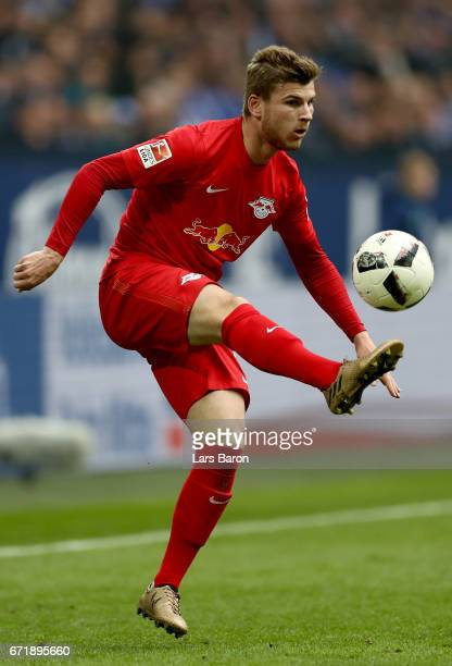 Timo Werner of Leipzig runs with the ball during the Bundesliga match between FC Schalke 04 and RB Leipzig at VeltinsArena on April 23 2017 in...
