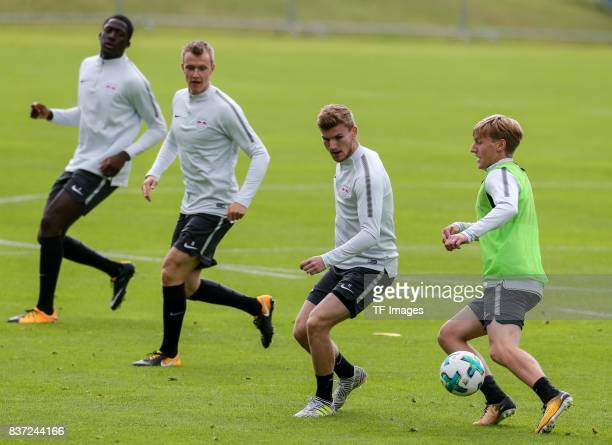 Timo Werner of RB Leipzig and Emil Forsberg of RB Leipzig battle for the ball during the Training Camp of RB Leipzig on July 20 2017 in Seefeld...