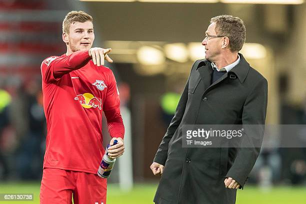 Timo Werner of RB Leipzig and Ralf Rangnick of RB Leipzig looks on during the Bandesliga match between Bayer 04 Leverkusen and RB Leipzig at BayArena...