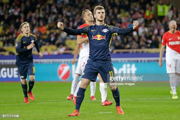 Timo Werner of RB Leipzig celebrate 03 during the UEFA Champions League match between AS Monaco v RB Leipzig at the Stade Louis II on November 21...