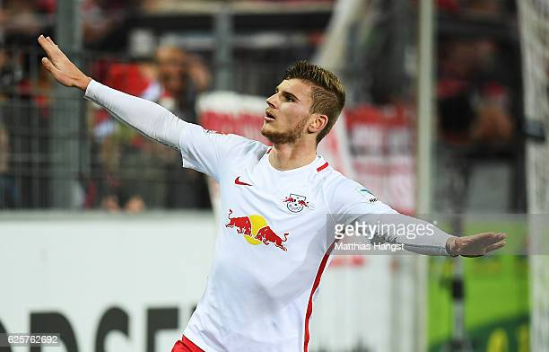 Timo Werner of RB Leipzig celebrates after scoring his second goal during the Bundesliga match between SC Freiburg and RB Leipzig at...