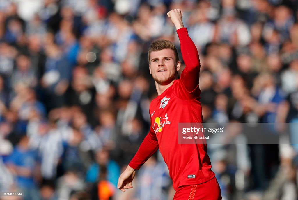 Timo Werner of RB Leipzig celebrates after scoring his team's first goal during the Bundesliga match between Hertha BSC and RB Leipzig at Olympiastadion on May 6, 2017 in Berlin, Germany.