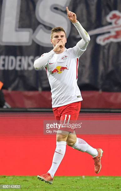 Timo Werner of RB Leipzig celebrates after scoring the 10 during the game between RB Leipzig and Hertha BSC on december 17 2016 in Leipzig Germany