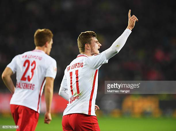 Timo Werner of RB Leipzig celebrates after scoring the second goal for RB Leipzig during the Bundesliga match between SC Freiburg and RB Leipzig at...